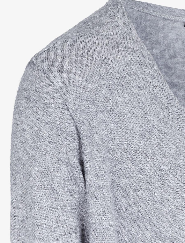 Gilet ouvert à col châle - gris chiné image number null