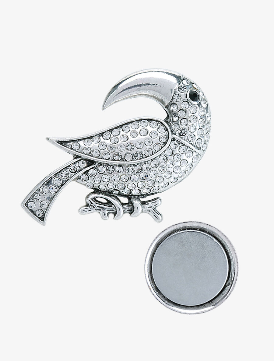 Broche toucan à strass - argent image number null