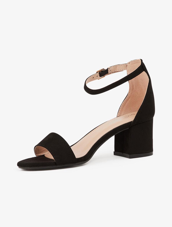 Sandales basiques en suédine à bouts ronds - noir image number null