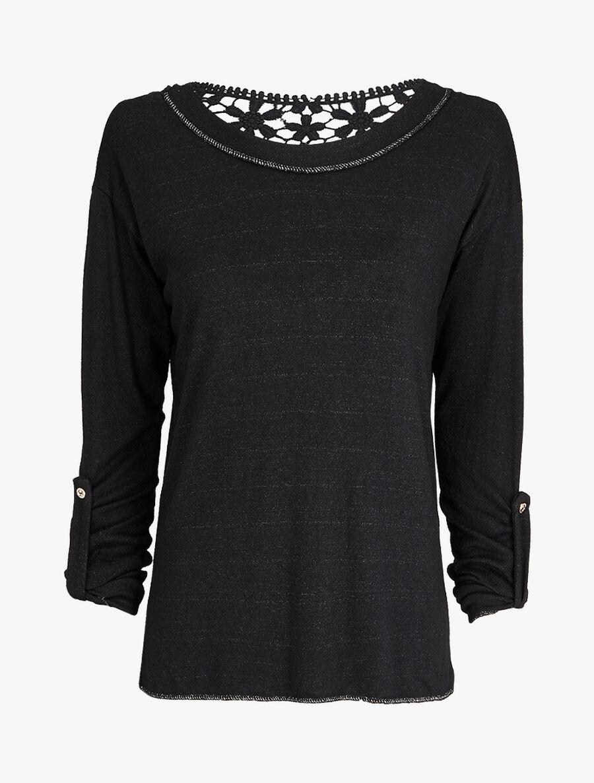 Pull à dos long en crochet - noir image number null