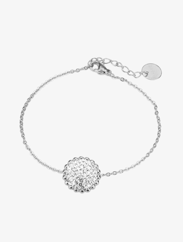 Bracelet à rond en relief et strass - argent image number null