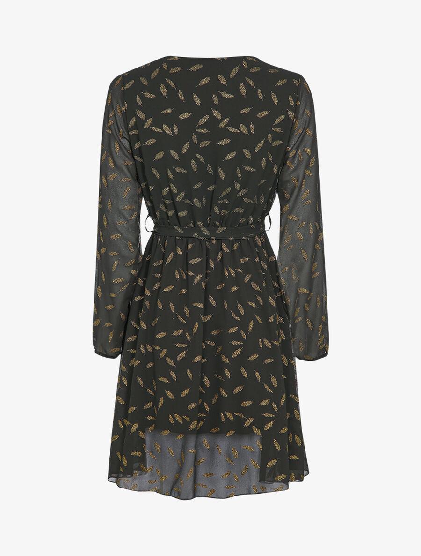 Robe mi-longue à détails irisés plumes - noir image number null