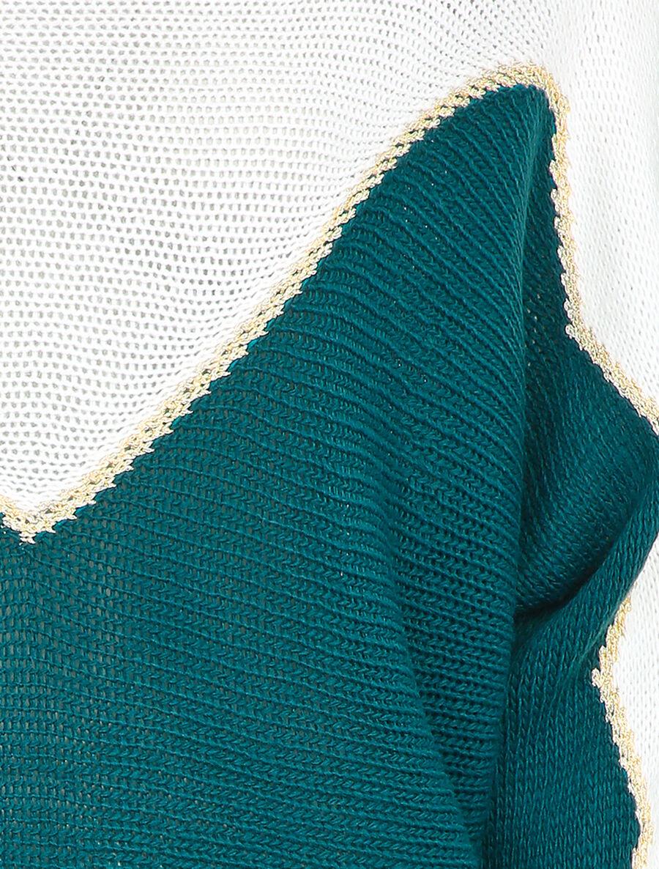 Pull en grosse maille à motif V irisé - bleu canard image number null