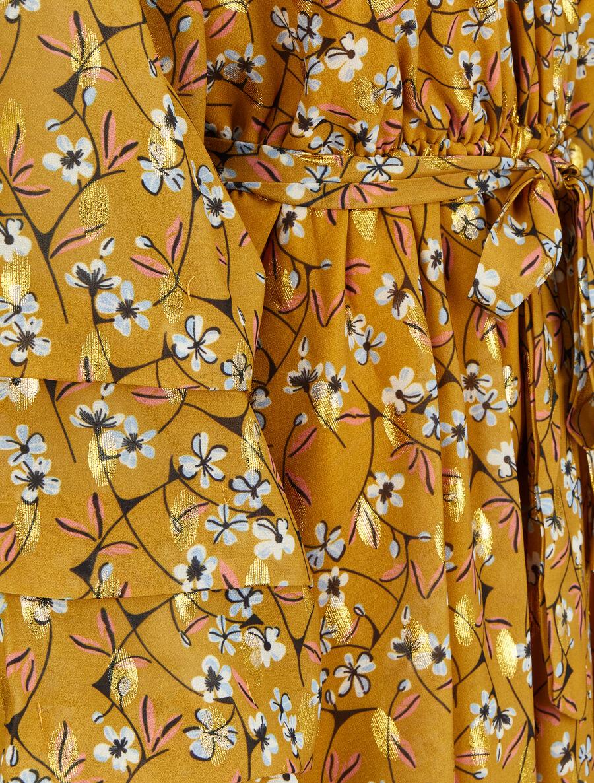 Robe patineuse imprimé fleurs de cerisier lamé à manches plissées - moutarde image number null