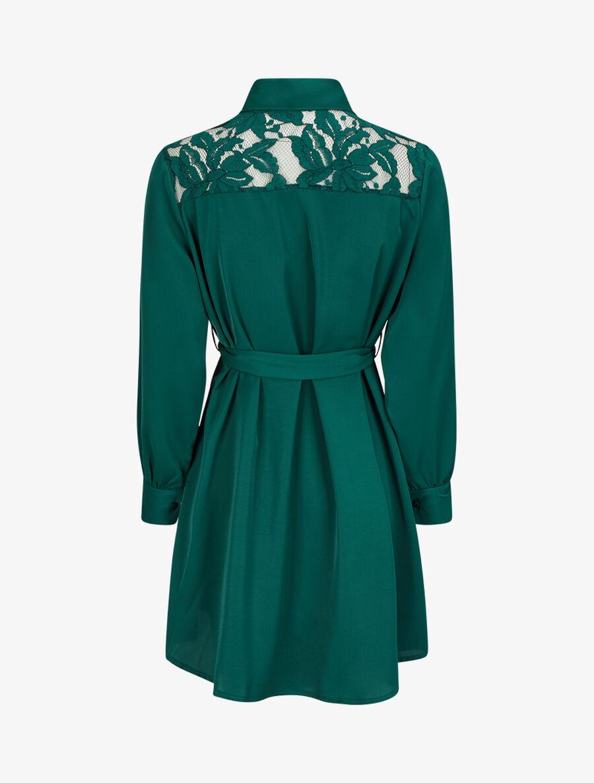 Robe chemise ample à épaules en dentelle - vert sapin image number null