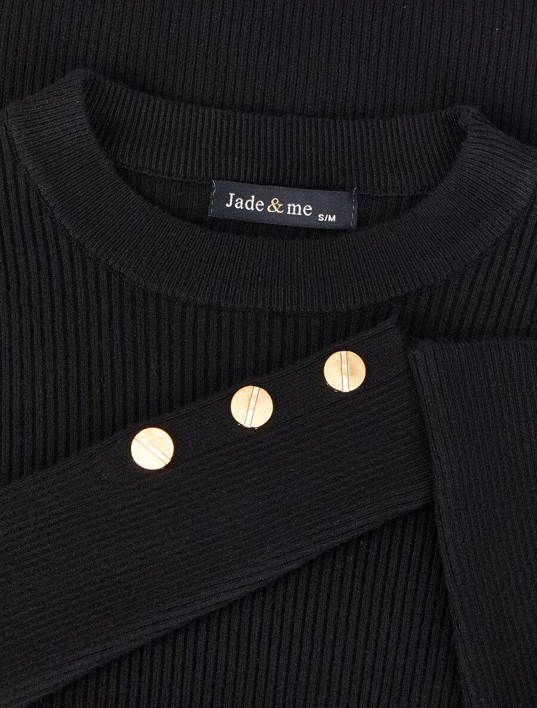 Pull côtelé basique à poignets boutonnés - noir image number null