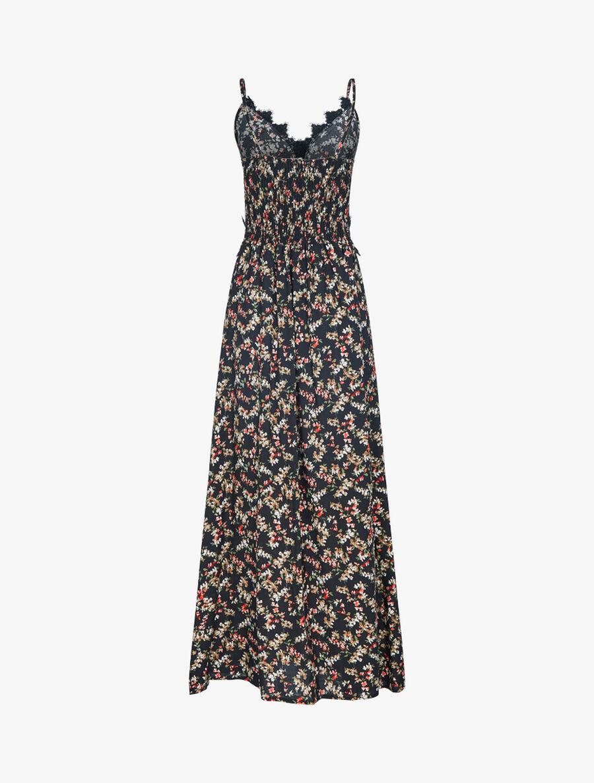 Robe fleurie à détails crochet - noir image number null