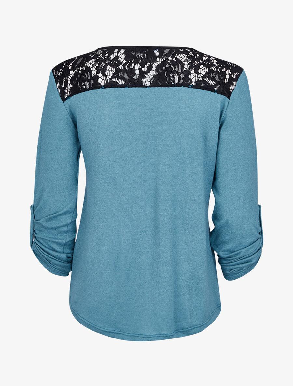 Pull à col zippé et à épaules dentelle - bleu clair image number null
