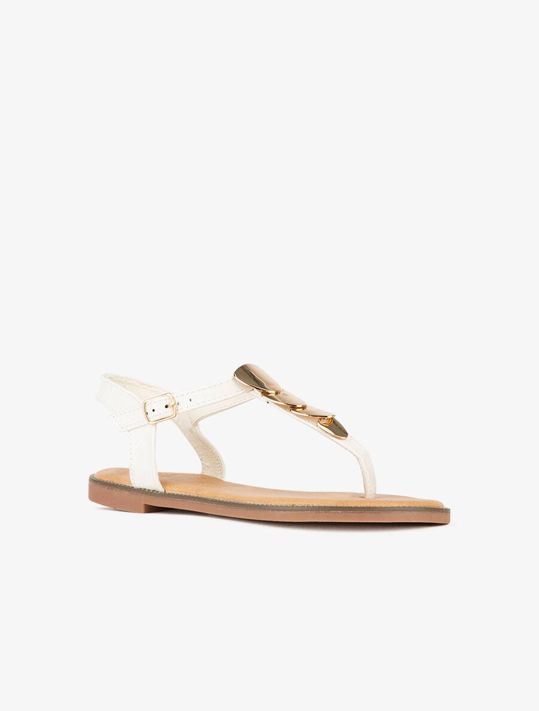 Nu-pieds à plaques dorées - blanc image number null