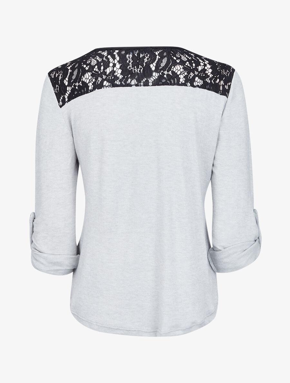 Pull à col zippé et à épaules dentelle - gris clair image number null