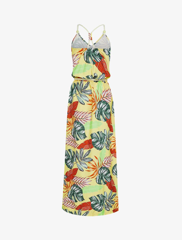 Robe longue à imprimé tropical - jaune image number null