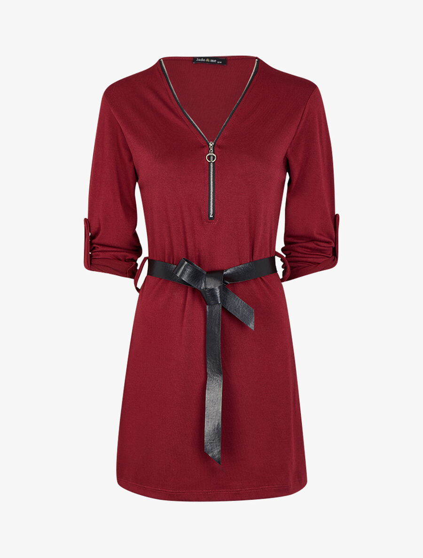 Robe à col V zippé et manches longues retroussables - bordeaux image number null
