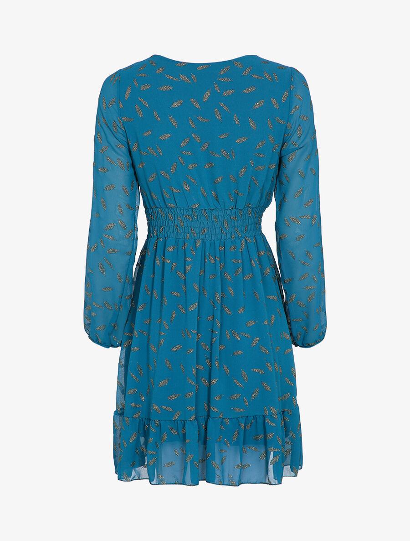 Robe imprimée plumes irisées et col cache-coeur - bleu canard image number null