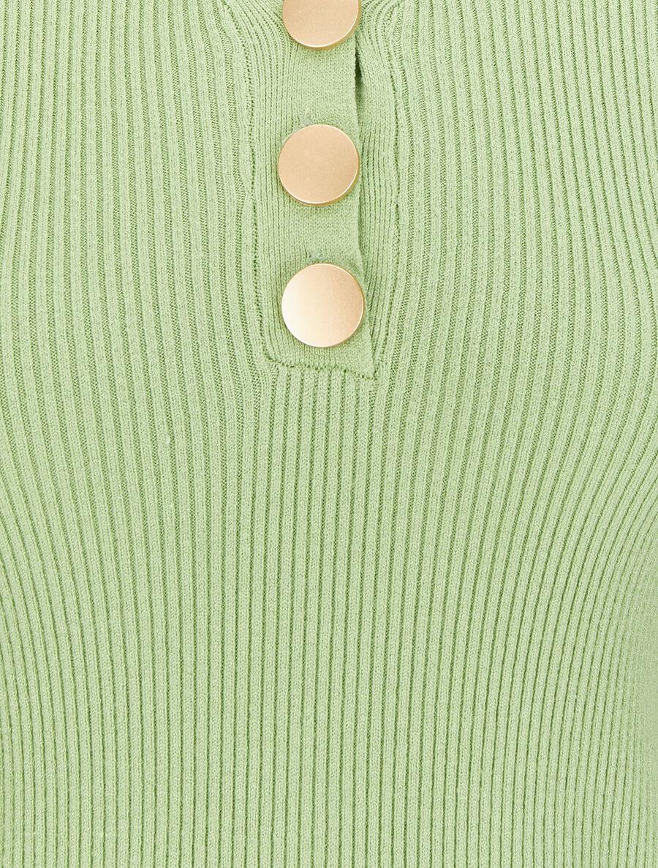 Pull côtelé à col V boutonné - vert pomme image number null