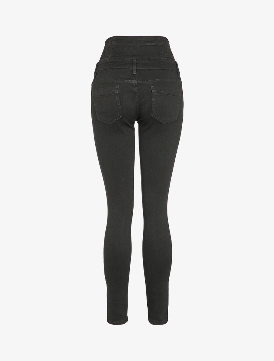 Jean skinny taille empire à boutons stylisés - noir image number null
