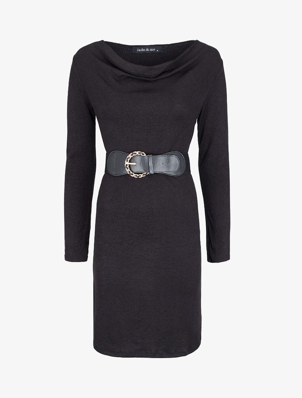 Robe pull droite à encolure bénitier - noir image number null