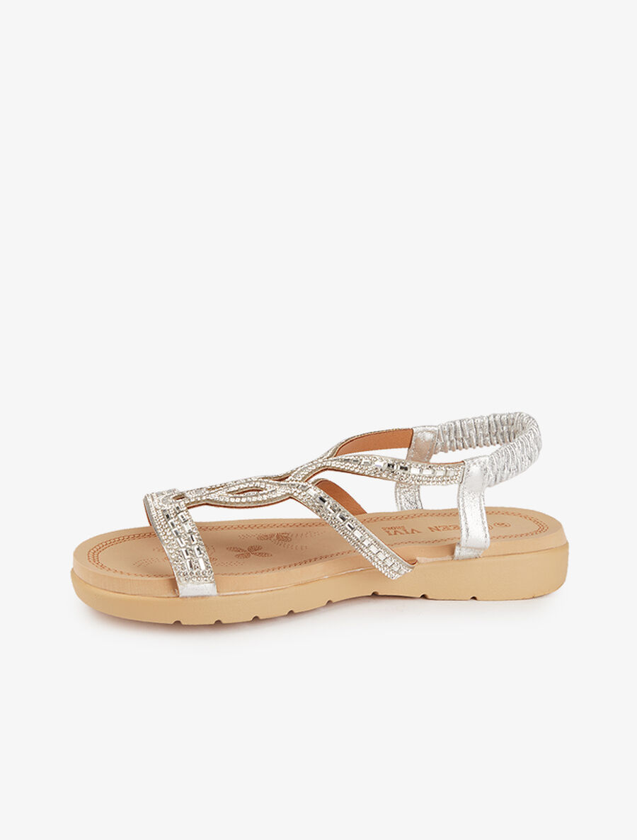 Nu-pieds style oriental en strass - argent image number null