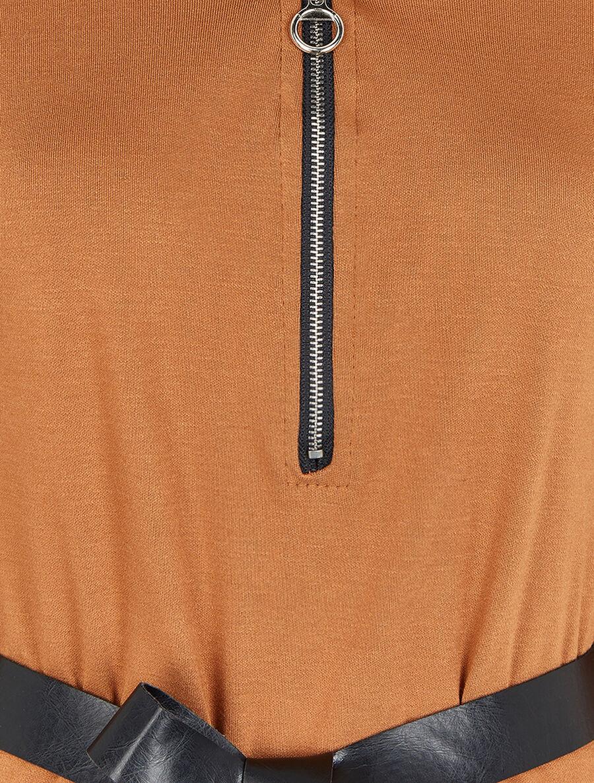 Robe à col V zippé et manches longues retroussables - camel image number null