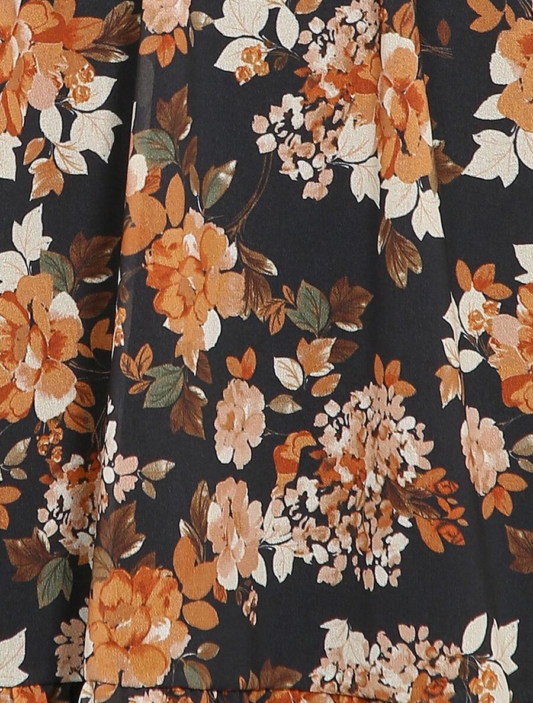 Robe patineuse mi-longue à imprimé fleuri - noir image number null