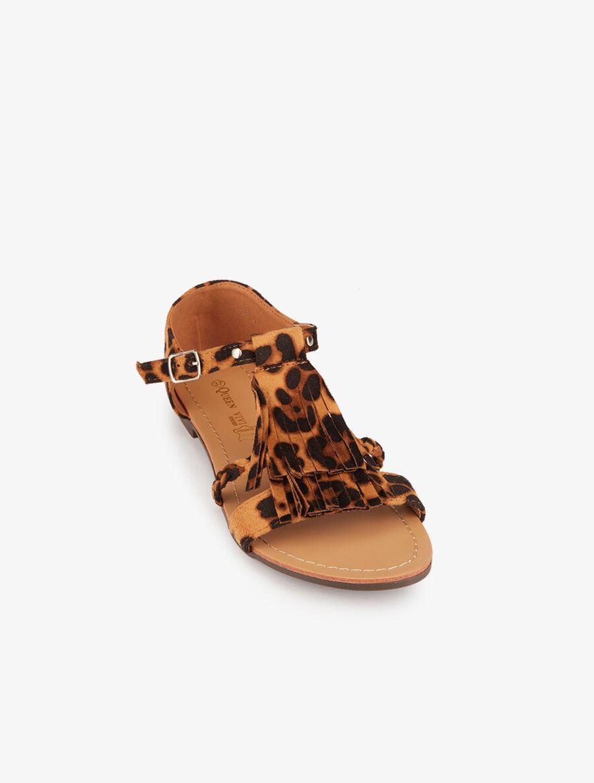 Nu-pieds frangés et à détail tressé - camel image number null