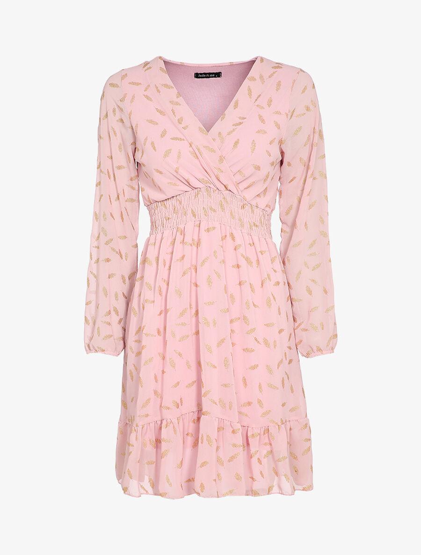 Robe imprimée plumes irisées et col cache-coeur - rose pâle image number null