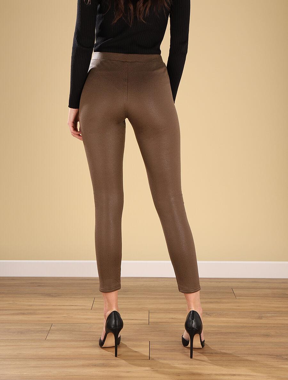 Legging épais effet craquelé - marron image number null