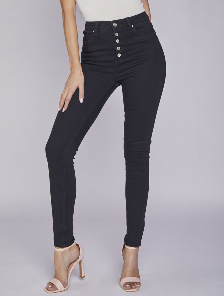 Jean skinny taille haute à boutons - noir image number null