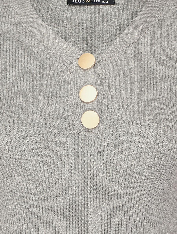 Pull côtelé à col V boutonné - gris chiné image number null