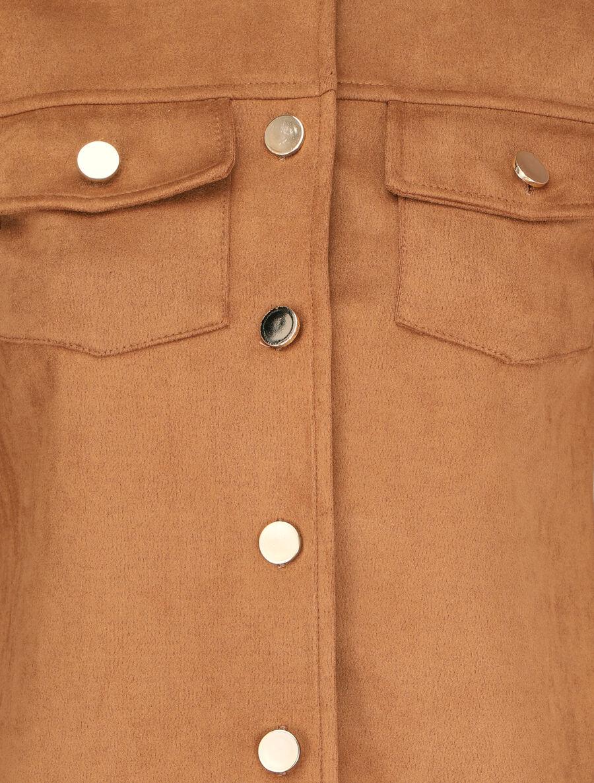 Veste boutonnée en suédine à poches à rabats - camel image number null