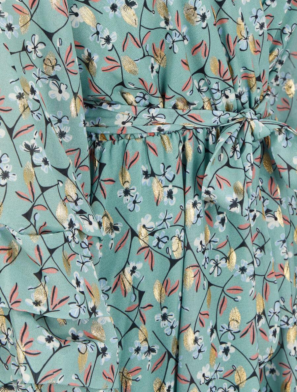 Robe patineuse imprimé fleurs de cerisier lamé à manches plissées image number null