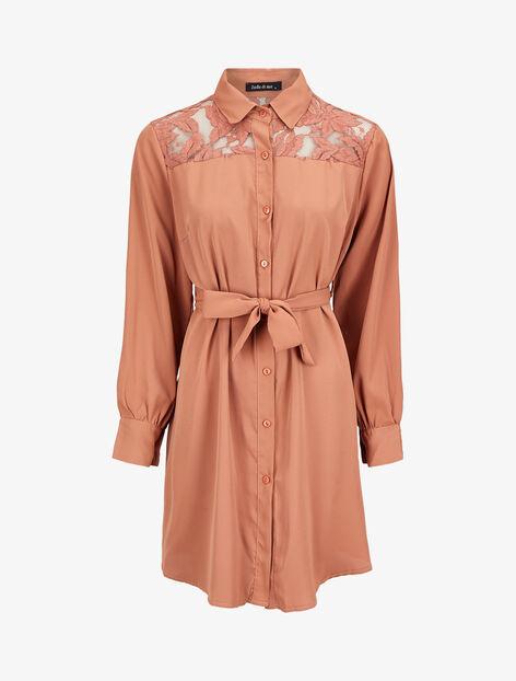 Robe chemise ample à épaules en dentelle