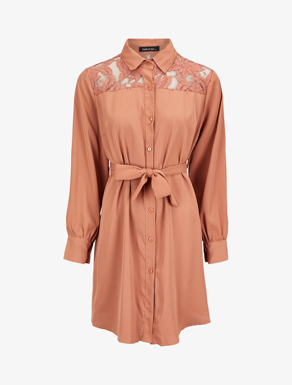 Robe chemise ample à épaules en dentelle - camel clair image number null