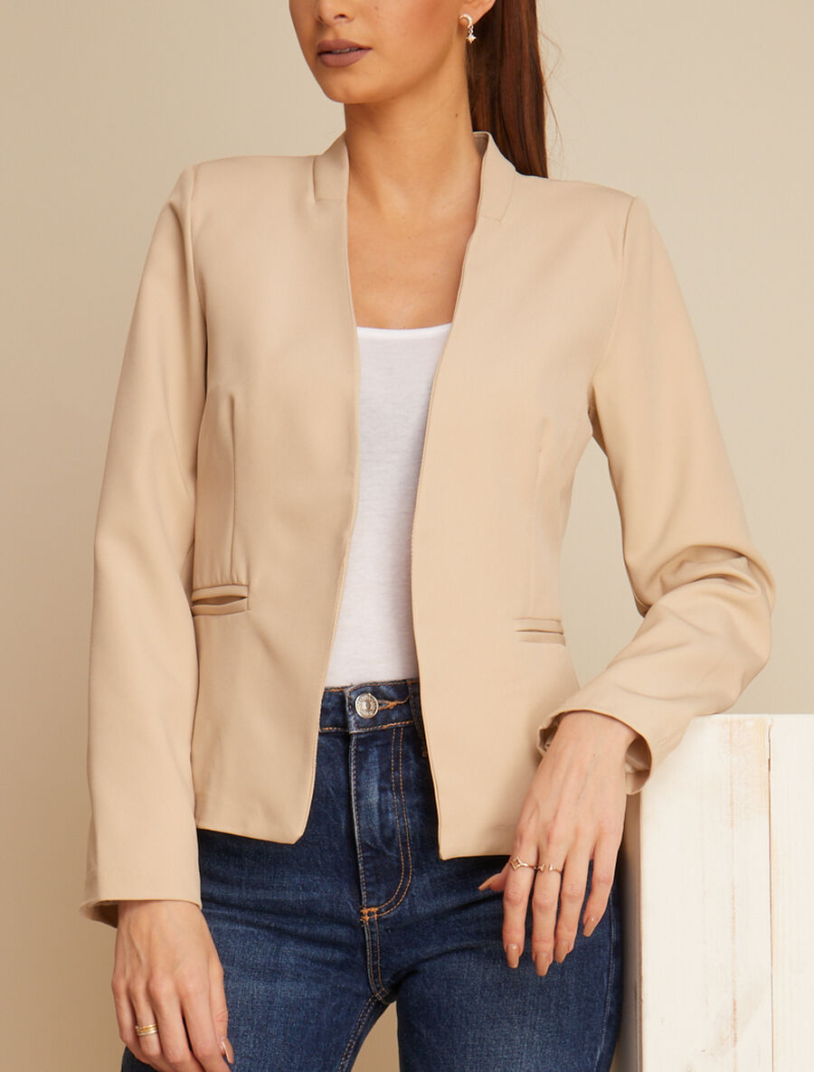 Blazer casual ouvert - beige image number null