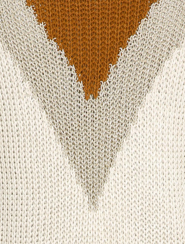 Pull droit à motif géométrique en V - beige image number null