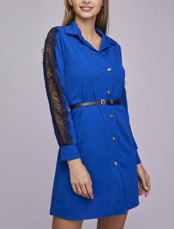 Robe chemise à manches détail dentelle - bleu roi image number null