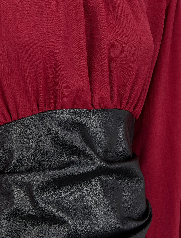 Robe bi-matière drapée à col montant - bordeaux image number null