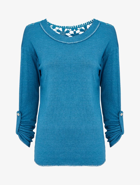 Pull à dos long en crochet - bleu charrette image number null