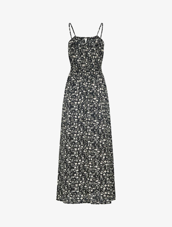 Robe à imprimé floral et crochet - noir image number null