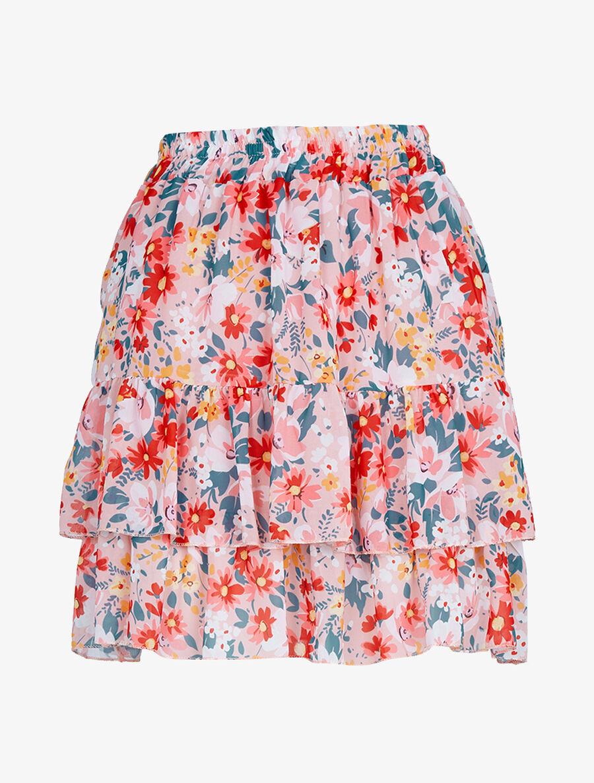 Mini jupe à volants superposés imprimé fleurs - rose image number null