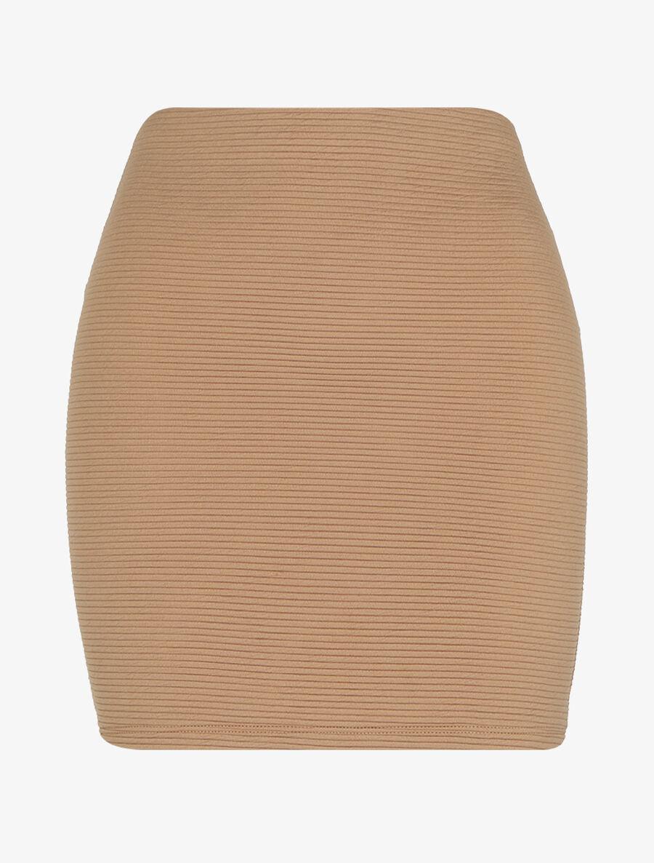 Jupe côtelée à taille haute - beige image number null