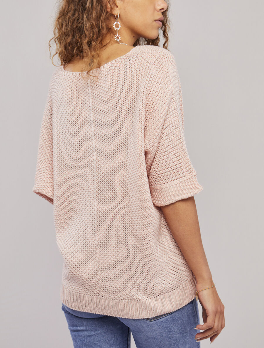 Pull oversize à manches 3/4 et col U - rose poudré image number null