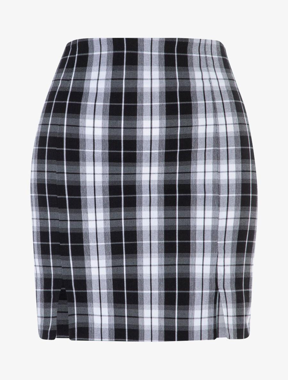 Mini jupe à imprimé tartan - noir image number null