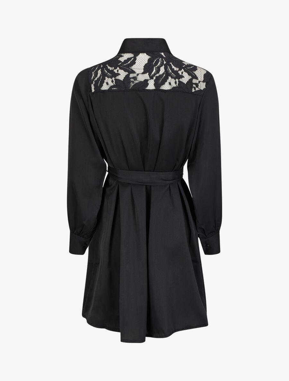 Robe chemise ample à épaules en dentelle - noir image number null