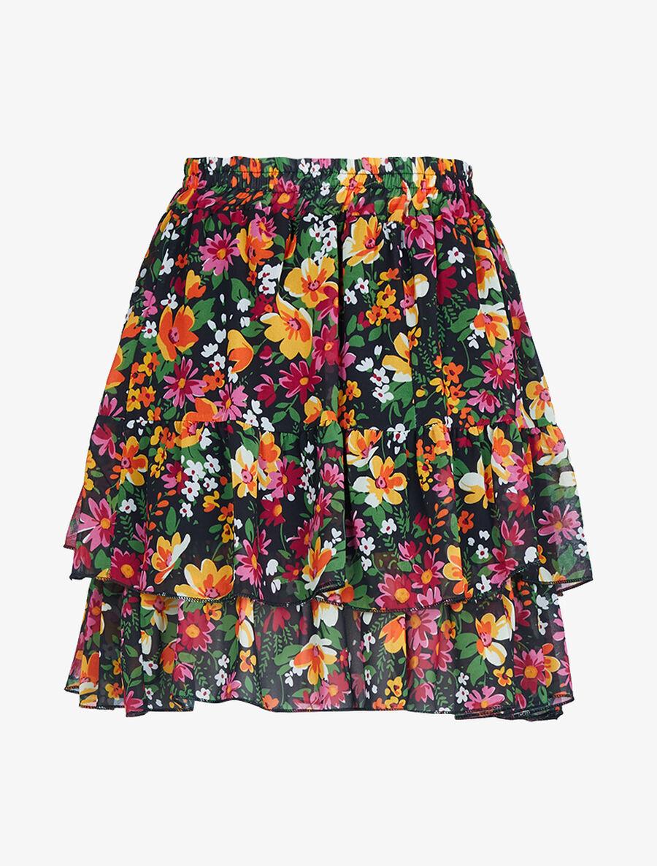 Mini jupe à volants superposés imprimé fleurs - noir image number null