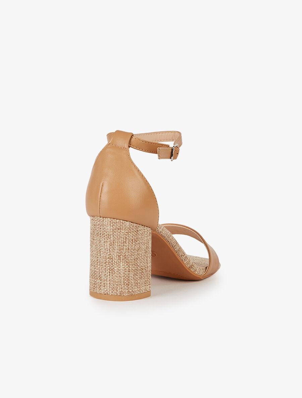 Sandales à talons et semelle effet toile - camel image number null