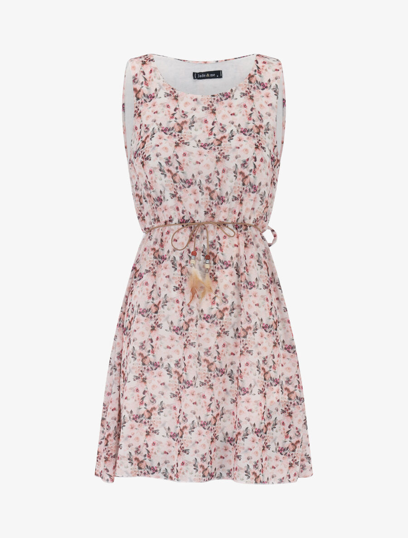 Robe en voile à imprimé floral - beige image number null