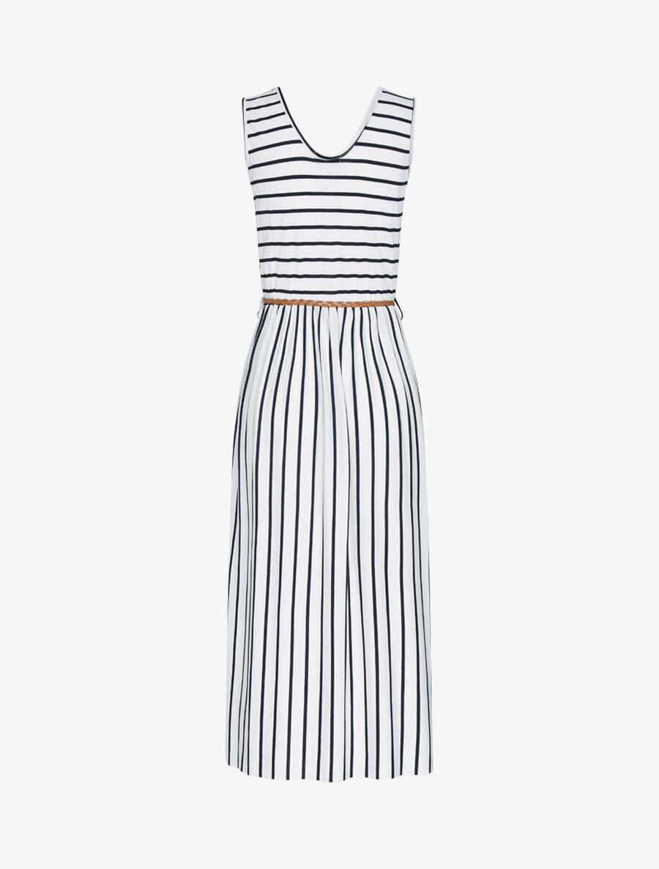 Robe longue à imprimé style marinière - blanc image number null