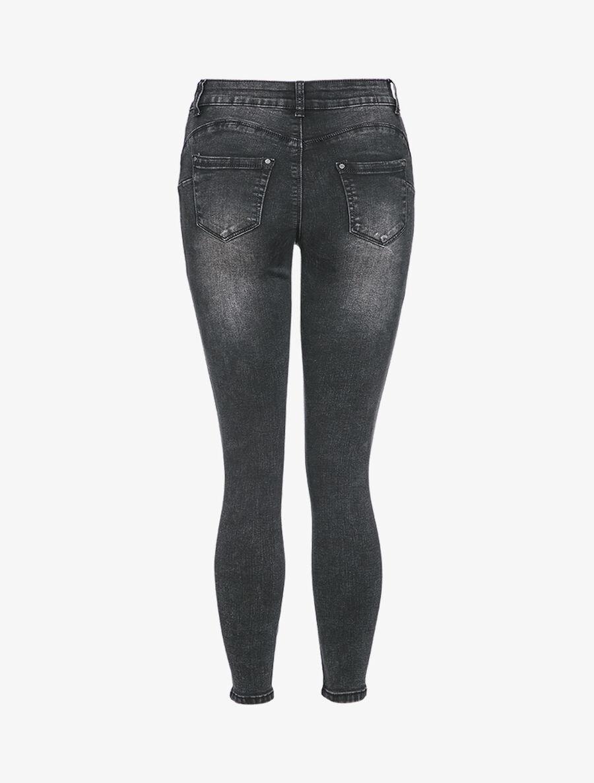 Jean skinny taille haute à déchirures - noir image number null