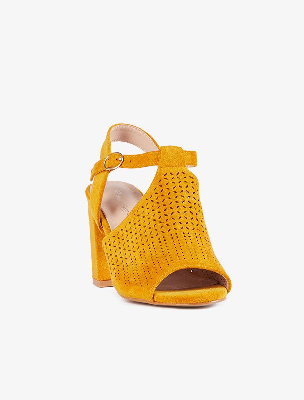 Peep-toes à claque piquetée - moutarde image number null