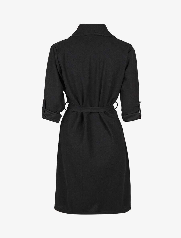 Veste longue à col châle et pans biseautés - noir image number null